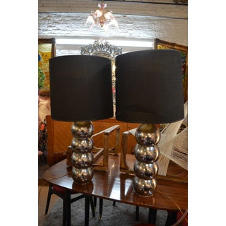 Vintage Mid Century Modern George Kovacs Stacking Chrome Ball Lamps With Black Shades - a Pair Preview