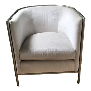 "French Bernhardt ""Meredith"" Silver Velvet Club Chair For Sale"