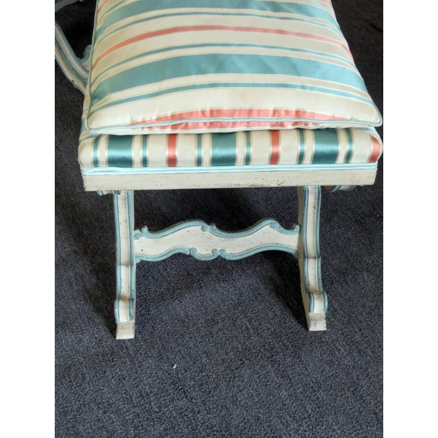 Mid-Century Modern Pair of Swedish Paint Decorated X Benches For Sale - Image 3 of 7