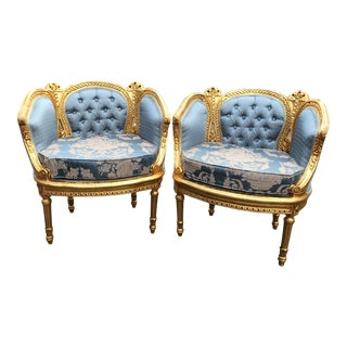 Vintage 1900's French Louis XVI Easy Chairs - a Pair For Sale