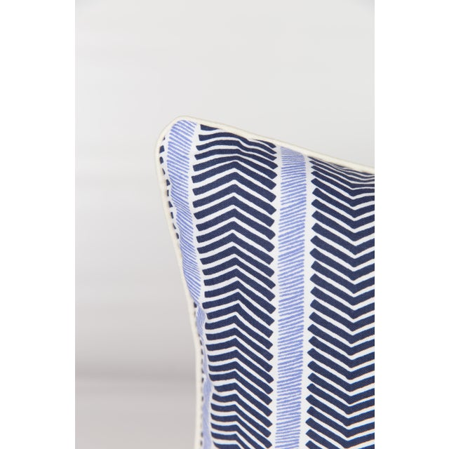 Custom Navy and Ivory Chevron Lumbar Pillow - Image 2 of 5