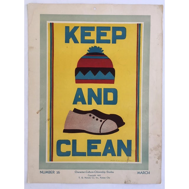 "Vintage 1930's ""Keep (Hat) and (Shoes) Clean Classroom Poster - Image 2 of 3"