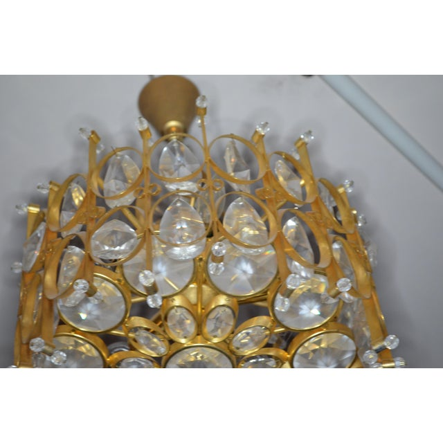 Palwa Vintage Hollywood Regency Crystal Chandelier in Style of Gaetano Scilari for Palwa For Sale - Image 4 of 9