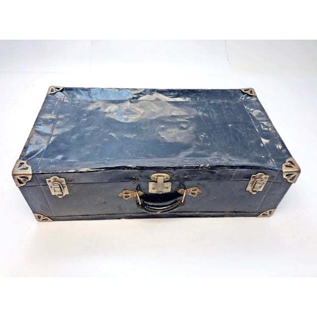 Vintage Distressed Black Metal Storage Trunk For Sale - Image 13 of 13