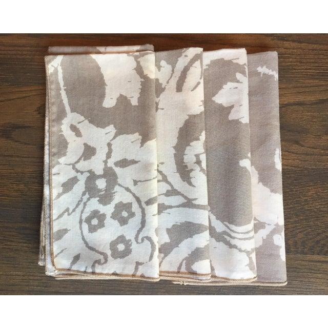 Vintage Taupe Ikat Napkins - Set of 4 - Image 4 of 7