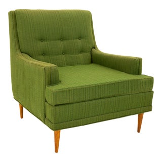 Valentine Seaver for Kroehler Mid Century Green Lounge Chair For Sale