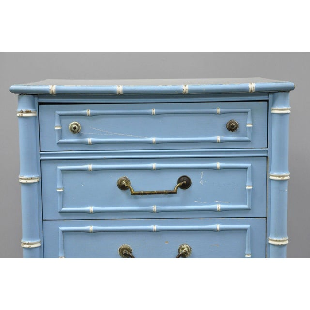 20th Century Chinese Thomasville Allegro Faux Bamboo 7-Drawer Blue Painted Tall Lingerie Chest For Sale In Philadelphia - Image 6 of 11