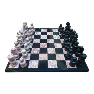Vintage Italian Pink Marble & Onyx Chess Board For Sale