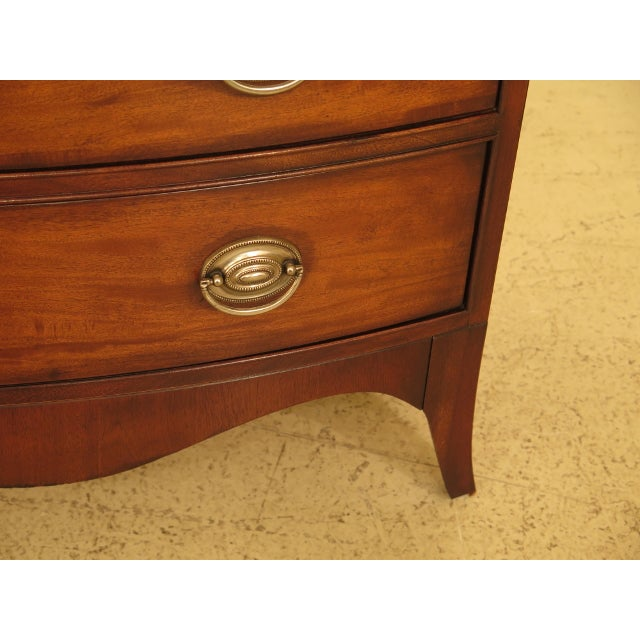 Mahogany Vintage Ethan Allen Federal Style Bow Front Mahogany Low Chest For Sale - Image 7 of 13