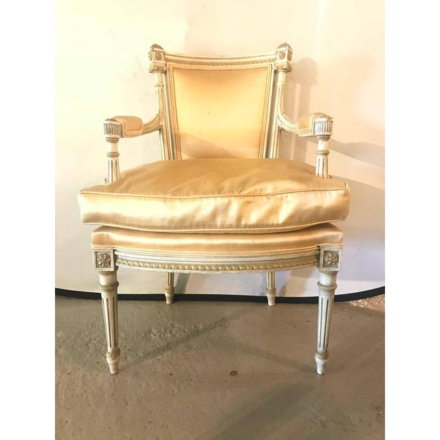 Hollywood Regency Jansen Parcel Paint and Gilt Decorated Arm or Desk Chair For Sale - Image 3 of 13