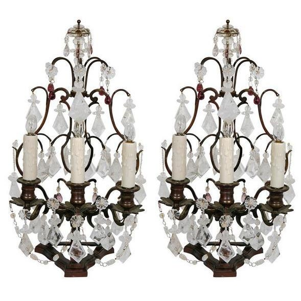 French Pair 19th C. French Bronze and Rock Crystal & Amethyst Glass Girandoles For Sale - Image 3 of 3