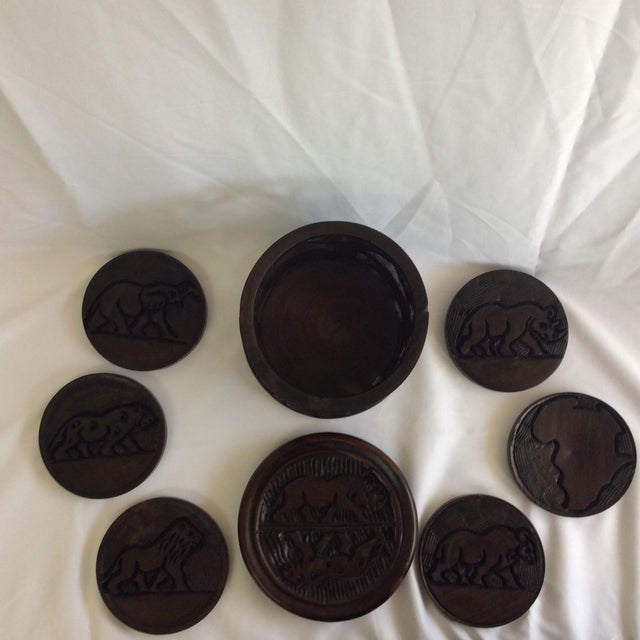 Boho Chic Indonesia Wooden Hand Carved Coasters - Set of 6 For Sale - Image 3 of 8