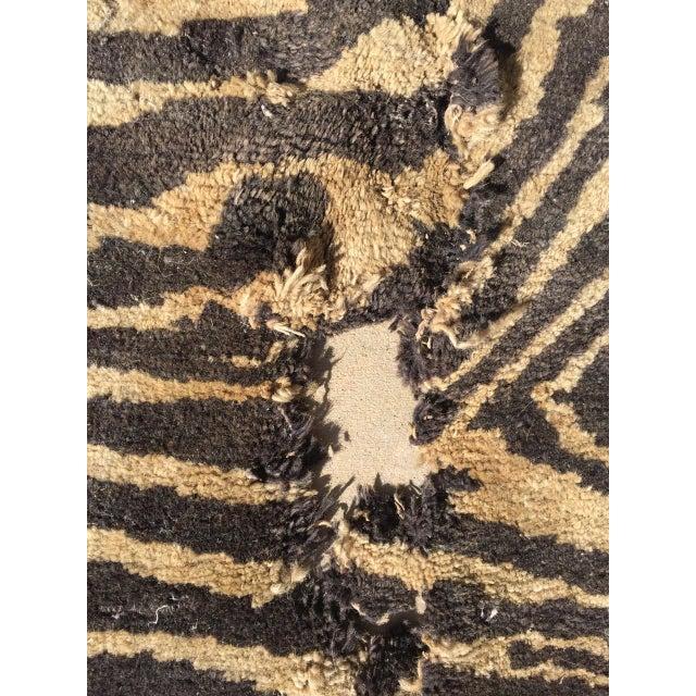 "Cream & Black Animal Print Wool Rug - 4' X 6'4"" - Image 5 of 5"