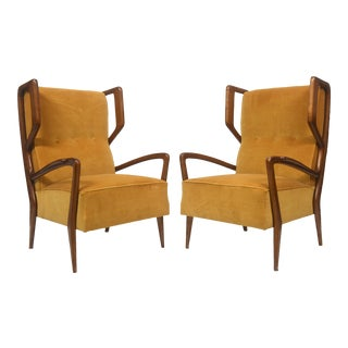 Rare Pair of Italian Modern Walnut Armchairs, Orlando Orlandi For Sale