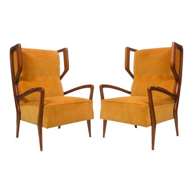 Rare Pair of Italian Modern Walnut Armchairs, Orlando Orlandi For Sale
