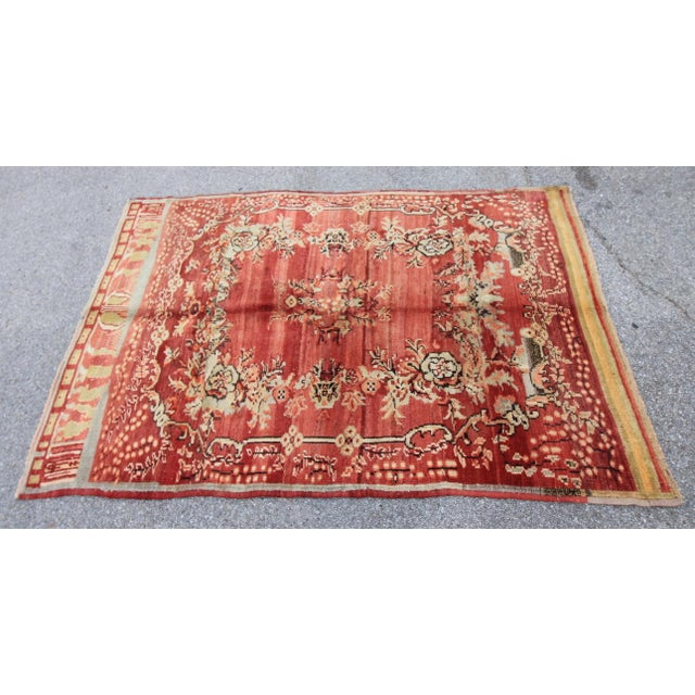 Vintage Tribal Antique Turkish Oushak Hand Knotted Rug - 5'1 X 7'5 For Sale - Image 4 of 6