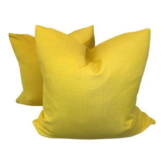 "Sunbrella Bright Yellow 22"" Pillows - a Pair For Sale"