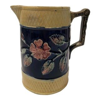 Antique Blue and Yellow Majolica Pitcher For Sale