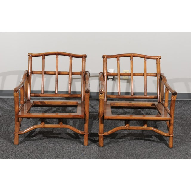 Wood Beautiful Restored Pair of Pagoda Style Loungers by Ficks Reed, circa 1970 For Sale - Image 7 of 13