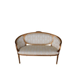"Quality Louis XVI Style Gilt Frame Settee Sofa 57""w For Sale"