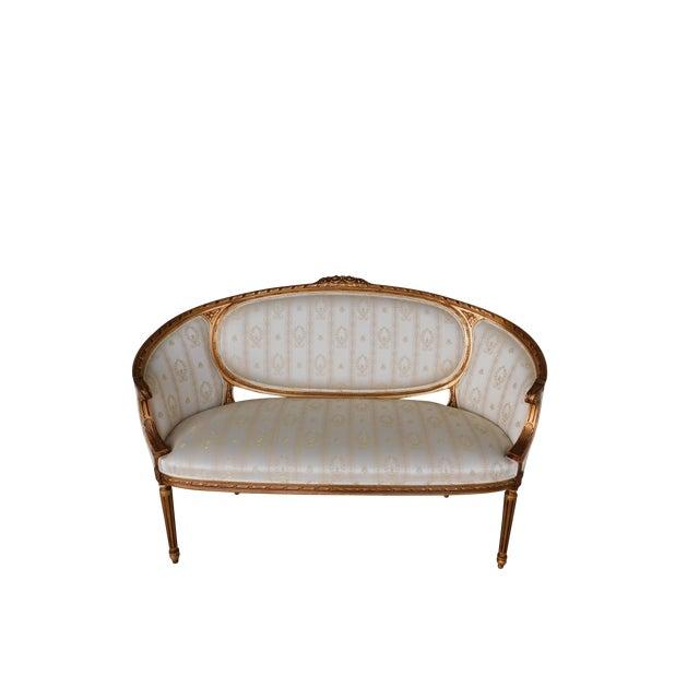 "Quality Louis XVI Style Gilt Frame Settee Sofa 57""w For Sale"