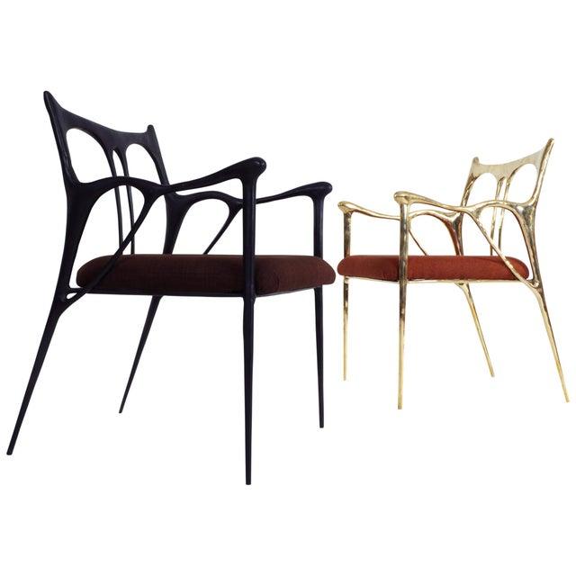 Modern Black Brass Sculpted Brass Chair, Misaya For Sale - Image 3 of 8