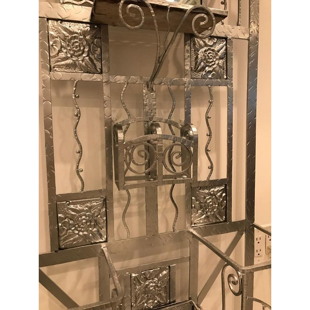 Silver French Art Deco Hall Tree Coat Rack With Sabino Glass Light Sconce For Sale - Image 8 of 13
