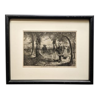 "19th Century French Print, Titled ""The Votive Offering"" With Black Wood Frame For Sale"