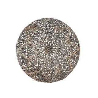 Asian Oriental Round Lotus Flower Geometric Pattern Wall Panel For Sale