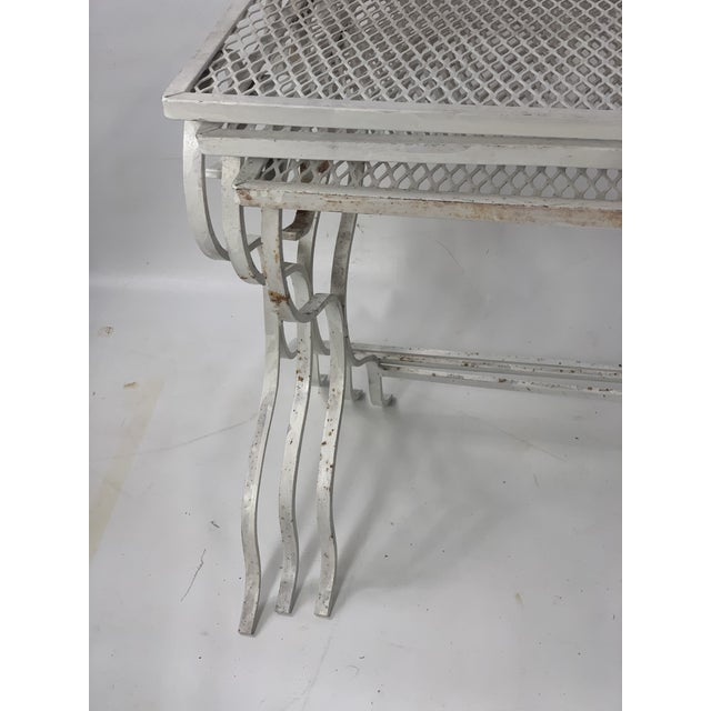 1950s Mid-Century Modern Salterini Tempestini Wrought Iron Nesting Tables - Set of 3 For Sale - Image 9 of 11