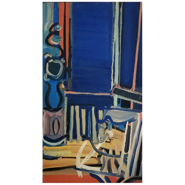 20th Century Dark Blue Abstract Still Life Painting by Daniel Clesse For Sale - Image 4 of 4