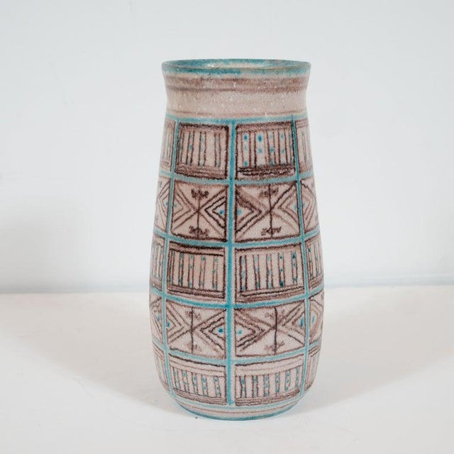 Ceramic Signed Guido Gambone Mid-Century Modern Hand Painted Ceramic Vase For Sale - Image 7 of 9