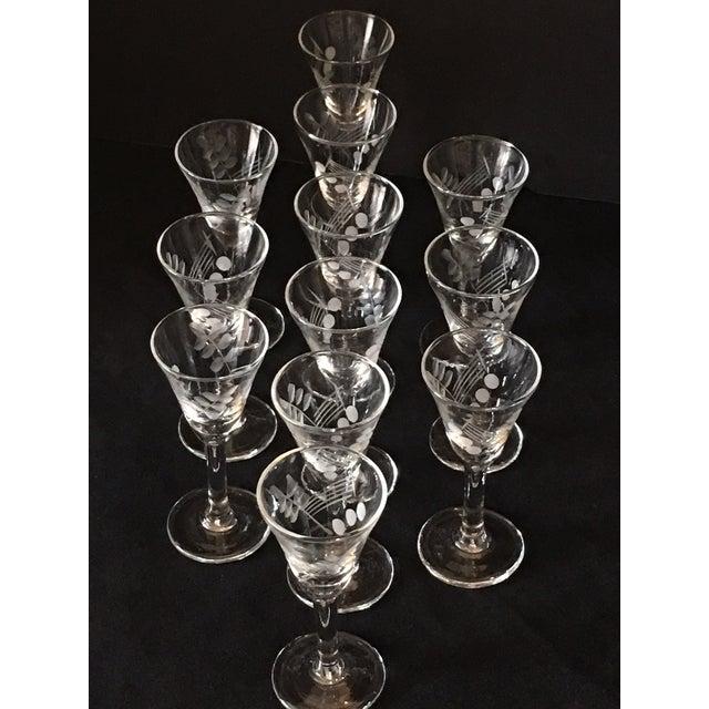Vintage Etched Shot Glasses - Set of 12 - Image 3 of 9