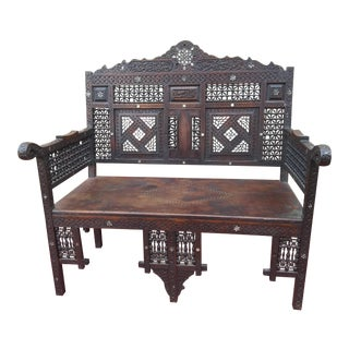 Late 19th Century Syrian Padauk Wood Settee Bench With Mother of Pearl Inlay For Sale