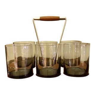 Mid-Century Caddy & Old Fashioned Glasses - Set of 6