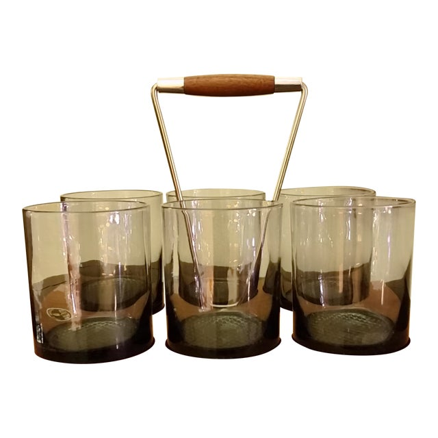 Mid-Century Caddy & Old Fashioned Glasses - Set of 6 For Sale