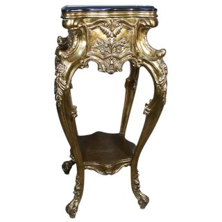 19th Century Early American Ornate Carved Gilt Pedestal
