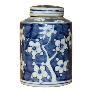 Chinese Blue White Ceramic Blossom Flowers Graphic Container Urn Jar For Sale