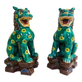 Pair of Chinoiserie Floral Foo Dogs For Sale