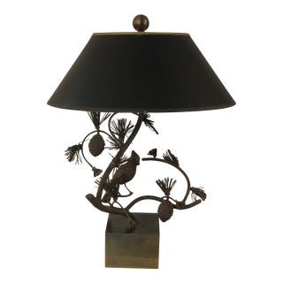 1970s Chapman Lamp Iron Bird on a Branch With a Shade For Sale