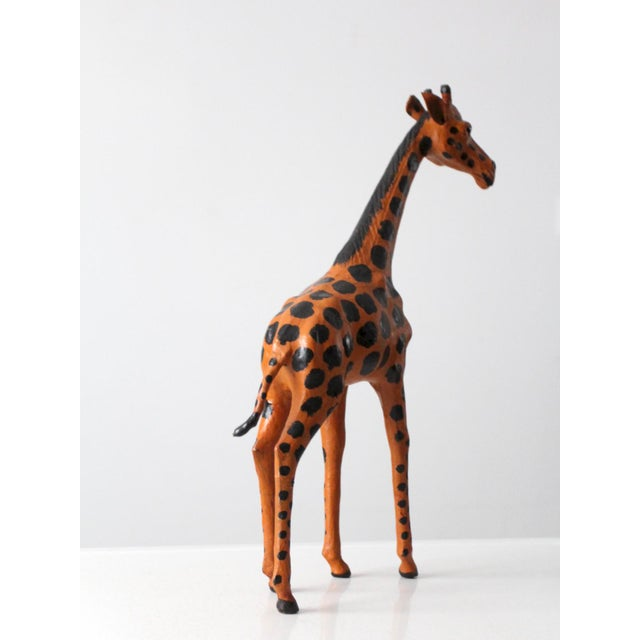 Boho Chic Vintage Leather Giraffe For Sale - Image 3 of 10