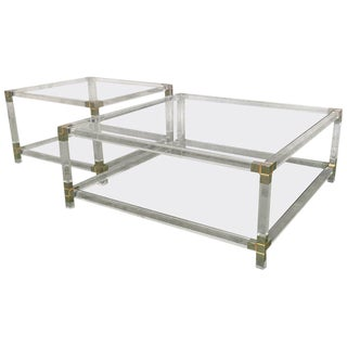 Mid Century Square Lucite Coffee Tables With Chromed Metal Details - a Pair For Sale