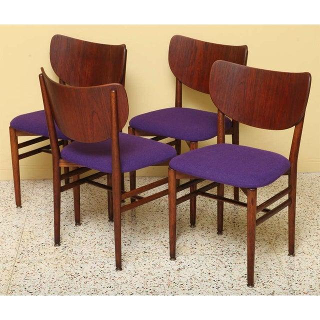 Purple Set of 4 Eva & Nils Koppel Mid-Century Modern Fumed Oak Dining Chairs For Sale - Image 8 of 8