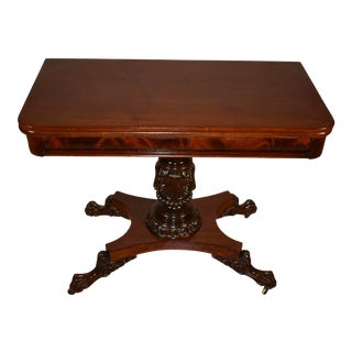 1880s Antique American Empire Solid Mahogany Flip-Top Game Table For Sale