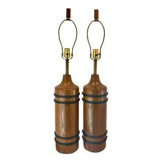 1960s Brandt Ranch Oak Iron Ring Banded Table Lamps - a Pair For Sale