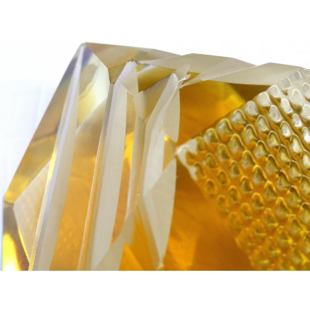 Gold Murano Glass Brilliant Cut Diamond Shape Paperweight For Sale - Image 8 of 9