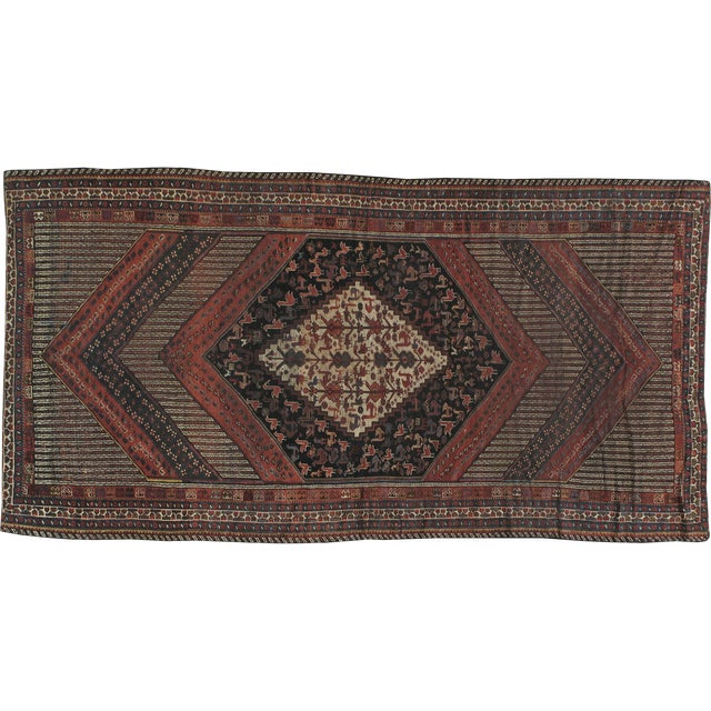 """Antique Persian Distressed Rug - 5'4"""" X 10'1"""" - Image 1 of 4"""