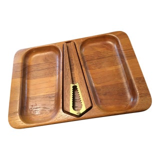 Digsmed of Denmark Nut Cracker and Tray in Teak For Sale