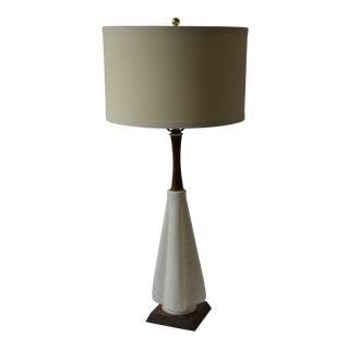 1950s Mid-Century Modern White Glass & Walnut Lamp For Sale