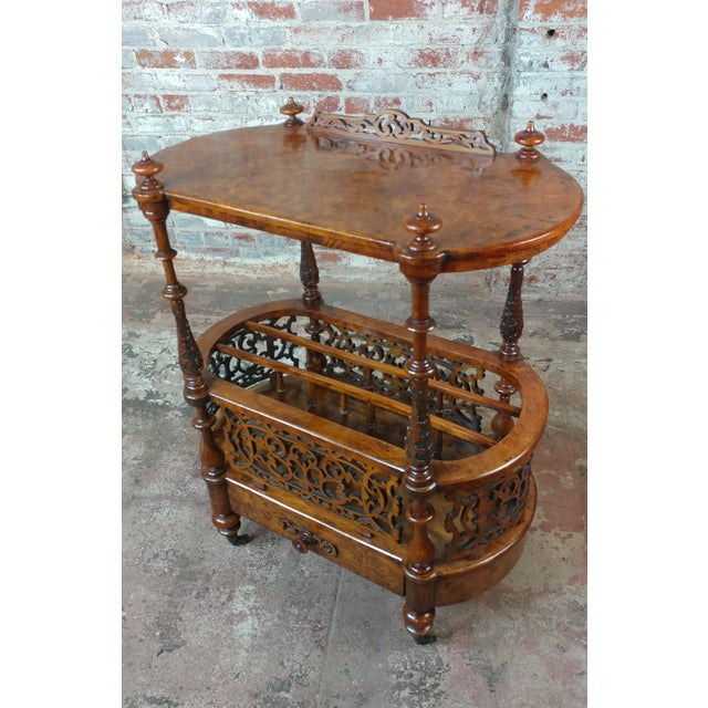19th c. Georgian Carved Burl Wood Library Book Stand & Magazine rack For Sale - Image 12 of 12